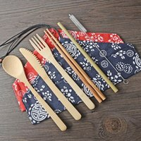Wholesale kitchen utensils sets for sale - Group buy Portable Knife Picnic Natural Reusable Straw Spoon Fork Chopstick Kitchen Utensil Bamboo Cutlery Set LX8553