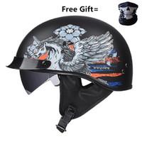Wholesale dual lens half face helmet for sale - Group buy Motorcycle helmet cascos para moto open half face casco moto vintage jet capacetes de motociclista with dual lens