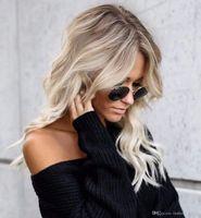kahverengi sarışın saç stilleri toptan satış-2019 Yaz Stili Kusursuz-Wob Saç (Dalgalı Bob) Kirli Sarışın Saç Kahverengi Köklü Sarışın Dantel Ön Peruk Kadınlar için (Kahverengi Kökler)
