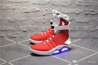 Wholesale limited edition rubber shoes for men resale online - AIR MAG Back Future led shoes high top Marty fLy Colorful Led Shoes For men Luxury Grey Black charger Mag Limited Edition Sneakers