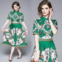 elegante kurze kleidmuster großhandel-2019 Summer Fashion Midi Dress Damen Elegant Kurzarm Vintage Carriage Pattern Print Grün Mid-Calf Plissee Kleid