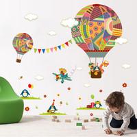 kreş sınıfı için duvar etiketleri toptan satış-Renkli Sıcak Hava Balon Hayvan Kreş Odası duvar sticker Ayı Zürafa çocuk odası karikatür sınıf Duvar Çıkartmaları