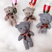 Wholesale toy bear clothes for sale - Group buy Plush Toy Pendant Siamese Bear Doll Children Lattice Without Flowers Schoolbag Clothing Accessories Pendants New Arrival bh L1