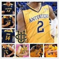 uc mini toptan satış-Özel UC Irvine Anteaters College Basketbol Herhangi İsim Numarası Sarı Lacivert # 2 Max Hazzard 14 Evan Leonard 40 Collin Welp NCAA Jersey
