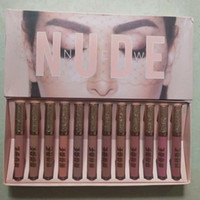 Wholesale new nude lipsticks for sale - Group buy DHL New Makeup Lips Melted Matte Liquid Lipstick NUDE Lipgloss Different Colors