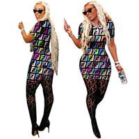ropa para ir de fiesta al por mayor-Impreso digital verano mujeres vestidos cuello redondo letra f impresos vestidos sexy dama ropa club vestidos ajustados