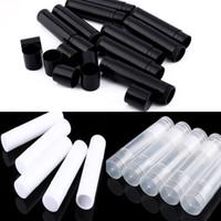 boş konteyner kozmetik toptan satış-5ML Kozmetik Boş Chapstick Dudak Ruj Balsam Tüp ve Konteyner siyah beyaz berrak renkli MMA1790 Caps