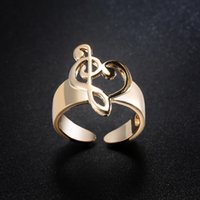 Wholesale music wedding rings resale online - Shining Women Jewelry Gold Plated Silver Music Note Bow Ring for Wedding Opening Adjustable Ring
