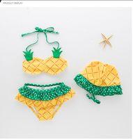 traje de baño lindo al por mayor-1-8 años bebé niñas traje de baño de frutas 3 unids / lote fresa niña de piña bekini lindo set niños traje de baño de playa de verano