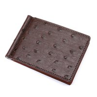 Wholesale money clip leather case for sale - Group buy Pattern PU Leather Bifold Wallet Men Slim Money Clip Ostrich Male Solid Wallets ID Card Case