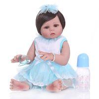 peau de jouet réaliste achat en gros de-49cm bambin nouveau-né Bebe poupée Reborn bébé fille en peau de bronzage complet du corps en silicone douce réaliste poupée Bath Toy étanche