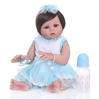 Wholesale realistic toy skin for sale - Group buy 49CM Toddler Newborn Bebe Doll Reborn Baby Girl In Tan Skin Full Body Silicone Soft Realistic Doll Bath Toy Waterproof