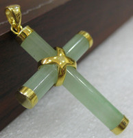 Wholesale green jade crosses resale online - 2 choices Western Style green Natural jade Cross Pendant Necklace