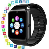akıllı dokunmatik ledli saat toptan satış-Bluetooth Smart İzle Erkekler Kadınlar Mesaj Hatırlatmak Sağlık Kamera Pedometre Dokunmatik Çalıştırmak Için En Kaliteli Spor Izle Desteği TF Sim Kart Android IOS