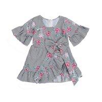 vestido de flores niñas raya bebé al por mayor-2019 Nuevo Pudcoco Newborn Toddler Kid Baby Girl Summer Dress Stripe Flower Bow Vestido de fiesta de manga corta Casual Girl Outfits Hot