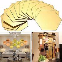 adesivos para telhas de parede venda por atacado-3D Espelho Hexagonal Adesivos de Parede Decoração 12 unidades / pacote Acrílico Removível Espelho Azulejo Decalque DIY Home Room Escadaria Decoração HH9-2128