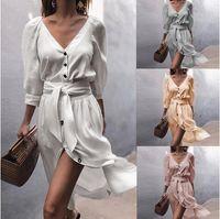 be32de8de8fa Ebay wish vestido de primavera, verano, otoño e invierno Correas con cuello  en V, mangas, vestidos de diseñador, vestidos para mujeres,