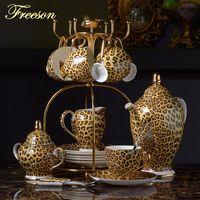 çaydanlık çay demliği çaydanlığı toptan satış-Kemik Çin Kahve Seti Lüks Porselen Çay Seti Gelişmiş Pot Kupası Seramik Mug Şekerlik Creamer Çaydanlık Drinkware yazdır leopard
