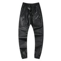 mens rahat deri pantolon toptan satış-Erkekler Hiphop Dans Pantolon Sonbahar Kış PU Deri Koşucular Siyah Kırmızı Gümüş Erkek Koşucular Casual Sweatpants Hip Hop Ter Pantolon Boyut 30-42