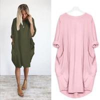 uzun hazır elbiseler toptan satış-Sonbahar Uzun Kollu Casual Gevşek Hamile Kadınlar Için Hamile Kıyafetleri Vestidos Gravidas Bayan Elbise Gebelik Elbiseler Q190521