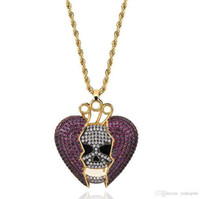ingrosso collane di scheletro-14K Iced Out Skull Skeleton Purple Heart Juice Wrld Pendente Bling Collana Micro Pave Cubic Zircone Gioielli moda ciondolo