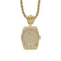 Wholesale stone necklace materials for sale - Group buy 18K Gold Plated Diamond Pocket Watch Necklace Copper Material Full CZ Stone Mens Hip Hop Jewelry Gift
