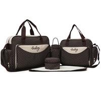 bebek bakım çantaları toptan satış-Mumya Çanta Sevimli 5 adet Set Bebek Bezi Çantası Büyük Kapasiteli Seyahat çanta Sırt Çantası Bezi Değiştirme Bezi Ped Çanta Organizatör Bebek Hemşirelik Çantası