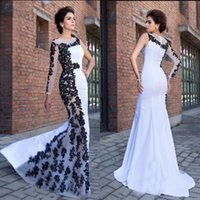 Wholesale pattern for black evening dress for sale – plus size Vintage White And Black Mermaid Prom Dresses Long Sexy One Shoulder Sheer Neck Lace Appliques Elegant Evening Formal Gowns For Women Plus