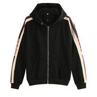 zip up hoodies kleidung großhandel-19ss Gray Italy Designers Fashion Brands Neue HOODED ZIP-UP SWEATSHIRT MIT Logo STREIFEN Männer g Hoodies Damen Sweatshirts Herrenbekleidung