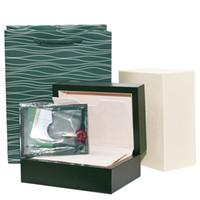 ingrosso scatola da orologi svizzeri-Nuova versione Custodia regalo Luxury Dark Green Watch Box per orologi Rolex Tag e documenti in libretto inglese in scatole di orologi svizzeri inglesi