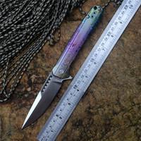 facas coloridas venda por atacado-Y-START edição limitada faca de bolso LK5015C S35VN cetim lâmina de rolamento de esferas arruela TC4 titanium punho colorido facas de acampamento ao ar livre