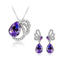 ingrosso set di gioielli da damigella d'onore-Set di gioielli damigella d'onore Orecchini pendenti di collana con diamanti Gioielli di cristallo australiani Set di gioielli indiani di gioielli di moda indiana