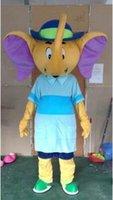 ingrosso abito rosa elefante-Qualità Grigio Pink Elephant Mascot Costume Elephant Tema Anime Costumi Carnevale Fancy Dress Mascotte
