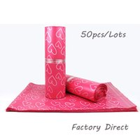 siegeldraht groihandel-Kuriertaschen Gefrostet Rosa Herzmuster Selbstklebende Selbstklebende Tasche Mattes Material Umschlag Mailer Versandtaschen