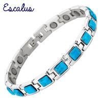 pulseira de pedra semi preciosa venda por atacado-Escalus Azul Semi-Preciosas Pedras de Aço Inoxidável Magnético Mulheres Pulseira Elo Da Cadeia Usando Jóias Bangle Pulseira de Charme