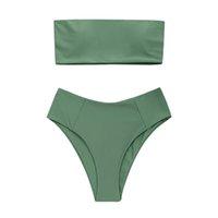 roupa de banho legging venda por atacado-ISHOWTIENDA Sexy Biquíni Mulheres Swimsuit Mulheres Biquíni Swimwear Set Strapless Swimsuit Alta Perna Maiô Beacher 2019