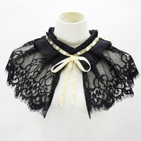 Wholesale doll nail resale online - Shawl Dickie Nail Pearl Lace Decoration Bow Fold Doll Lead Fake Collar New Shirt Women