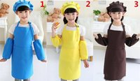 Wholesale apron hat for sale - Group buy Kids Aprons Pocket Craft Cooking Baking Art Painting Kids Kitchen Dining Bib Children Aprons with hat and sleeves Kids Aprons colors G5K