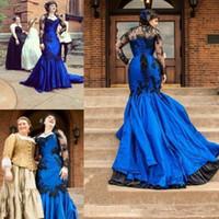 Wholesale mermaid weding dresses resale online - 2020 Gothic Black And Blue Mermaid Weding Dresses Sheer Long Sleeves Sweetheart Lace Appliqued Vintage Bridal Gowns Court Train Plus Size