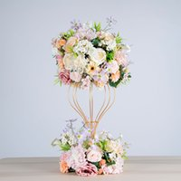 Wholesale rose ball bouquet artificial for sale - Group buy artificial flower ball hydrangea simulation rose wreath wedding decorative iron stand frame party road lead decoration peony silk flower