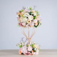 stands de fleurs de fer achat en gros de-fleur artificielle boule hortensia simulation rose couronne de mariage fer décoratif stand cadre route partie plomb décoration pivoine soie fleur