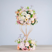 dekoratif yapay çiçek çelenk toptan satış-Yapay çiçek top ortanca simülasyon gül çelenk düğün dekoratif demir standı çerçeve parti yol kurşun dekorasyon şakayık ipek çiçek
