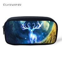 Wholesale pencil cases designs resale online - ELVISWORDS Fashion Kids Pencil Case Fantasy Deer Print Pattern Students Stationery Box Cartoon Animal Design Children s Pen Bags