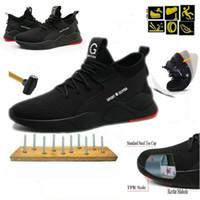 bottes de sécurité achat en gros de-Chaussure de sécurité pour femmes Toile en acier pour hommes Sport Travail en plein air Randonnée Sentier Chaussures respirantes Chaussures de protection Chaussures de sport