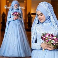 mavi müslüman gelinlik toptan satış-Mütevazı Müslüman Sky Blue Başörtüsü Gelinlik Yeni 2019 Yüksek Boyun uzun Kollu Dantel Aplike Kat Uzunluk A Hattı Suadi Arabistan Gelin törenlerinde