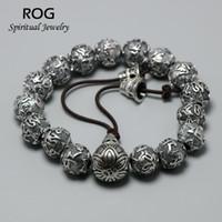 pulseira de 925 libras para homens venda por atacado-Real 925 Sterling Silver Mantra Prayer Beads Bracelet Para Homens Seis Palavras Budismo Tibetano Rosário Jóias Bransoletka Meska