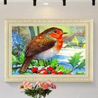 ingrosso decorazioni per uccelli-Neve casa degli uccelli fai da te pittura diamante 5D paesaggio animale soggiorno camera da letto cafe decorazione pittura a punto croce diamante pieno mosaico