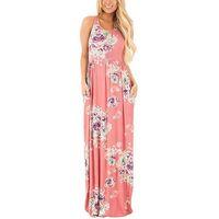 ingrosso abito maxi pieghettato boho-buona qualità Boho Floral Printed Sundress O-Collo Estate Sexy pieghettato Maxi Dress 2019 Casual Beachwear Femininos Vestidos