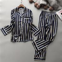 gevşek pijama toptan satış-Lisacmvpnel Moda Kadınlar Dikey Çizgili Rayon Pijama Takımı Gevşek Boş Bahar Pijama