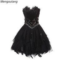 пуховые вечерние платья оптовых-Вечерние платья Черное бальное платье Принцесса без бретелекПром платья Вечерние платья с коротким букетом выпускного вечера платья
